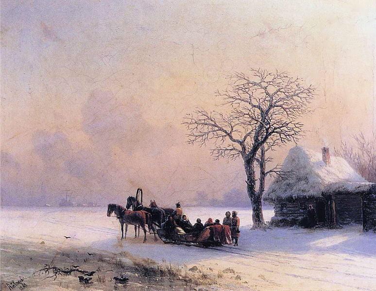Айвазовский.Зимняя сцена в Малороссии