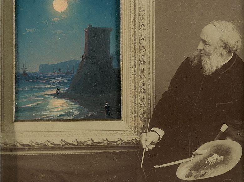 Фотография Айвазовского, поверх которой он дописал картину