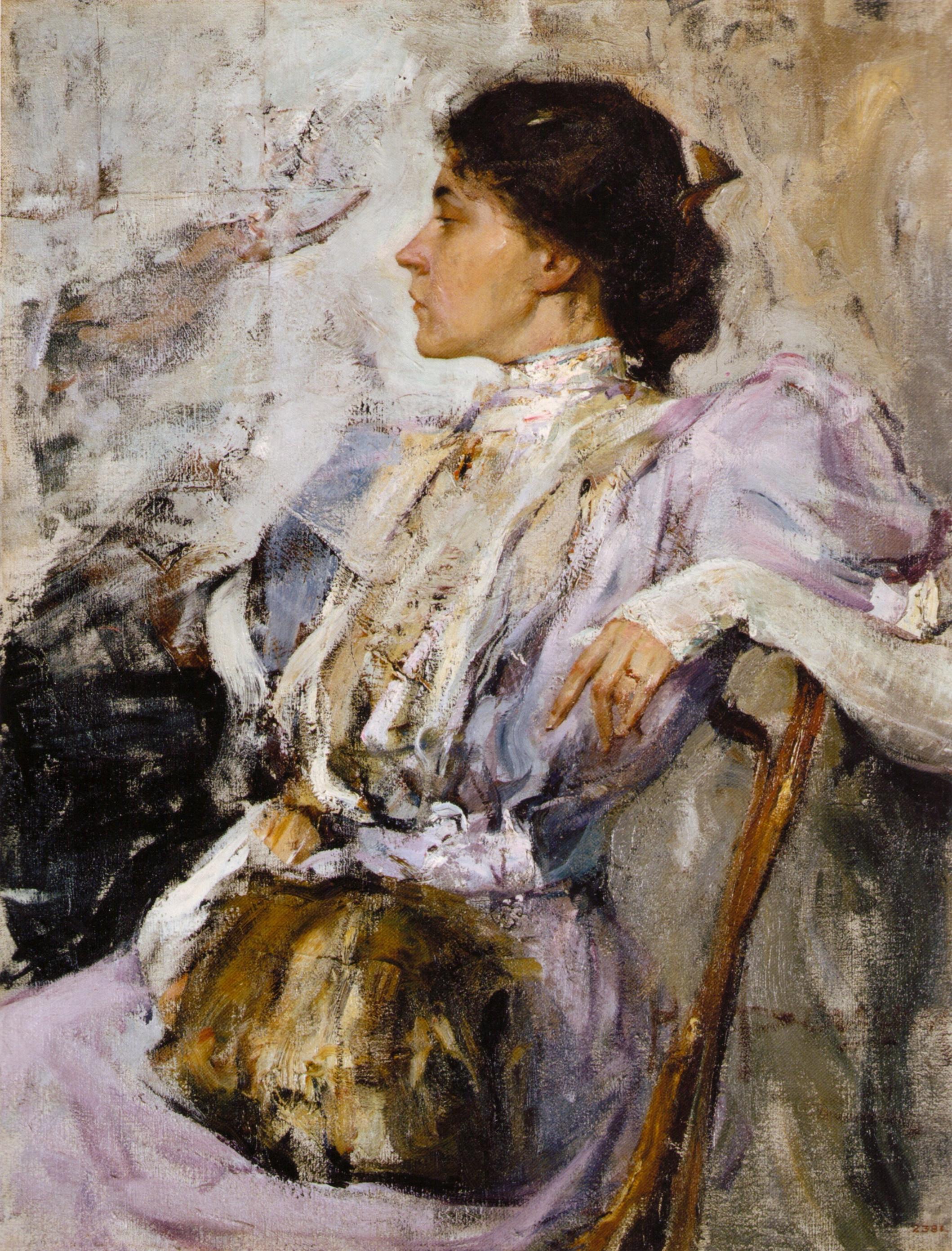 Фешин. Дама_в_лиловом_(портрет_неизвестной) Фешин_ Санкт-Петербург, Государственный Русский музей