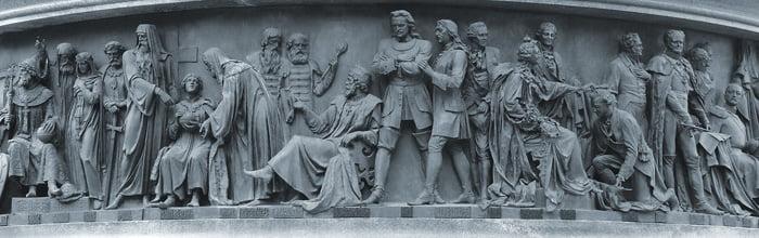 Государственные деятели на памятнике Тысячелетие России