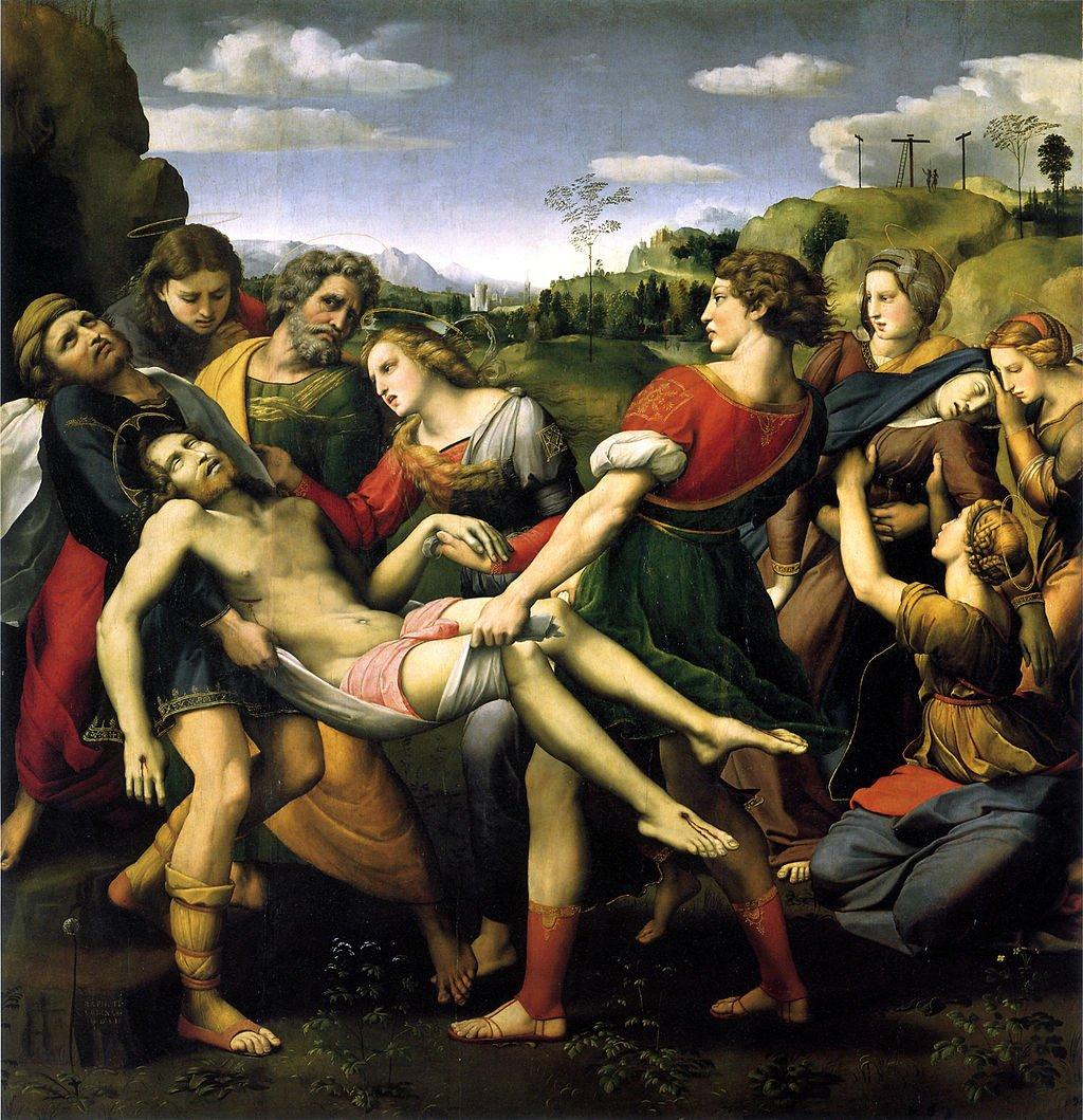 Рафаэль Положение во гроб (центральный образ алтаря Бальони). Галерея Боргезе. Рим
