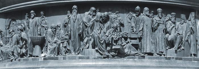 Просветители на памятнике Тысячелетие Руси