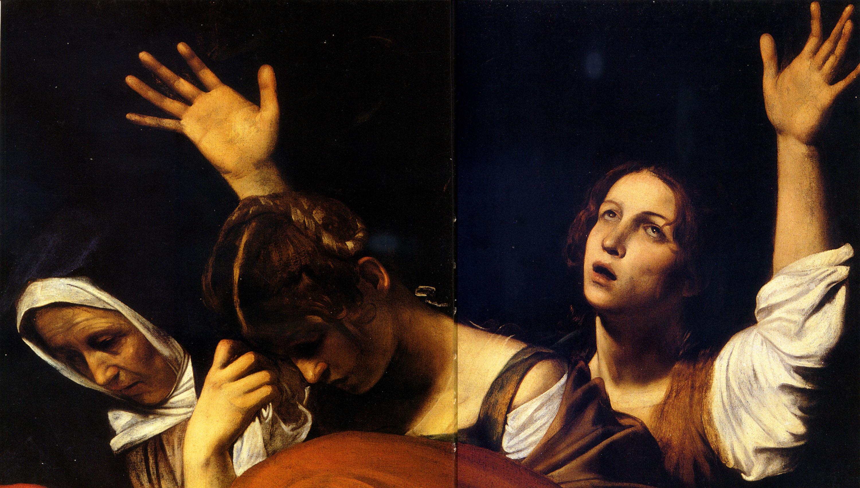 """Дева Мария, Мария Магдалена и Мария Клеопа, Фрагмент """"Положение во гроб"""" Караваджо"""