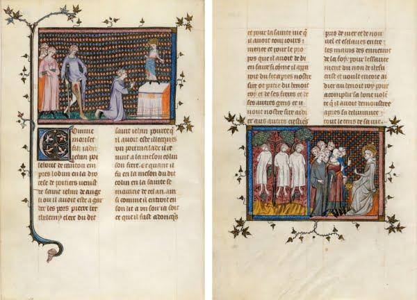 Миниатюры из рукописной книги Гийома де Сен-Патю «Житие и чудеса Святого Людовика» Франция, 1330-1340 Национальная библиотека Франции (BNF)