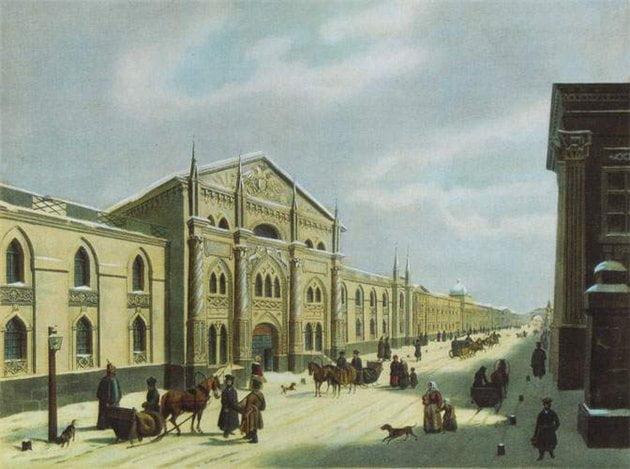 Здание Синодальной типографии на Никольской улице 1840 г