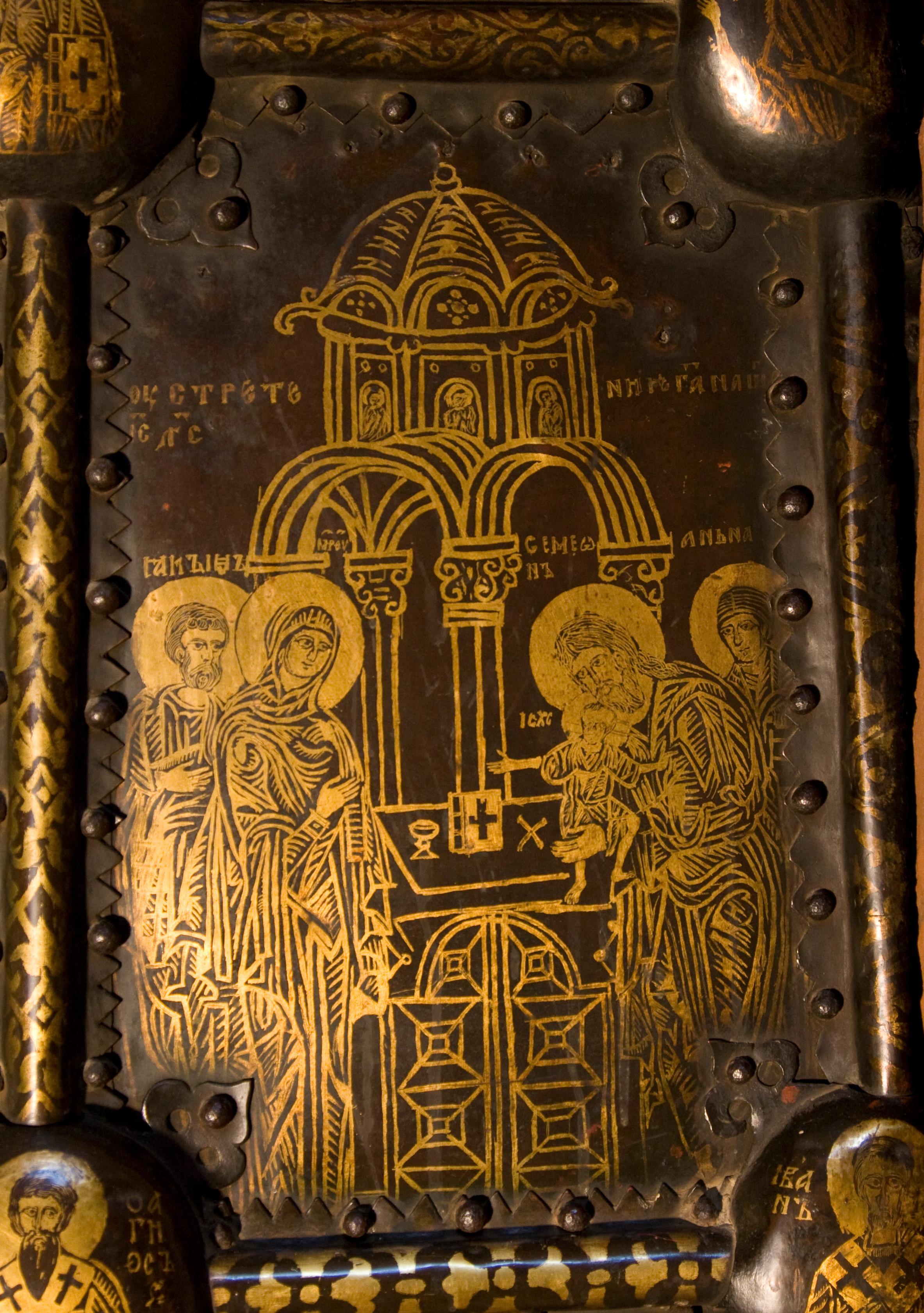 Сретение. Васильевские врата новгородского собора Святой Софии. 1336 г. Фрагмент
