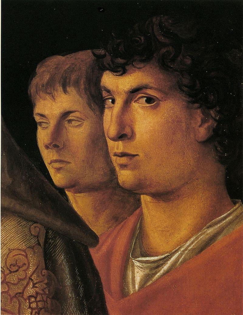 Возможный автопортрет Джованни Беллини. Деталь картины Принесение во храм ок.1460. Галерея Кверини Стампалья, Венеция