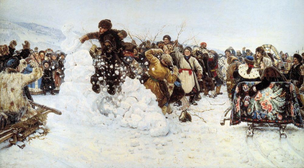 Взятие снежного городка. Василий Суриков