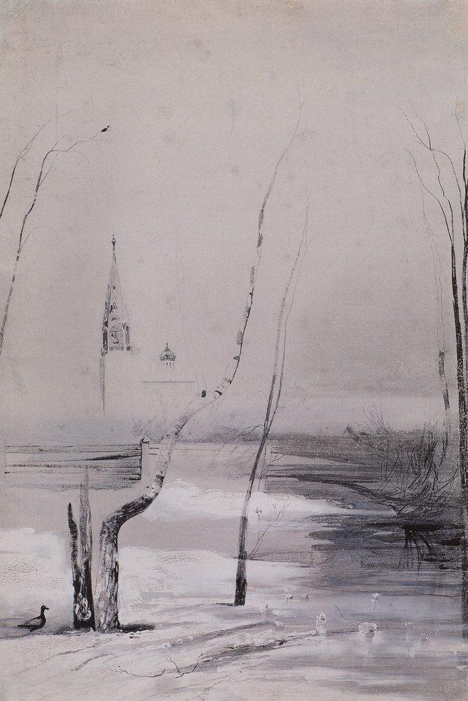 А. Саврасов. Набросок к картине. «Пейзаж с церковью и колокольней». Начало 1870-х ГТГ