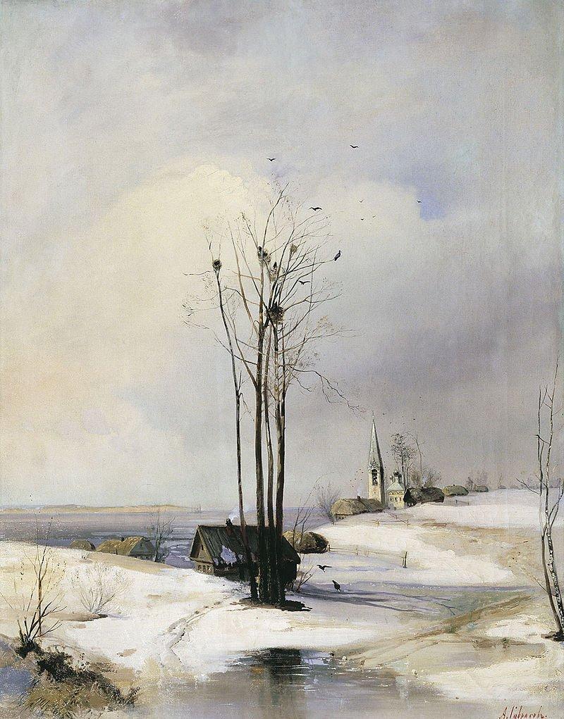 Саврасов. Ранняя весна. Оттепель 1880-ые. Астраханская картинная галерея. Астрахань