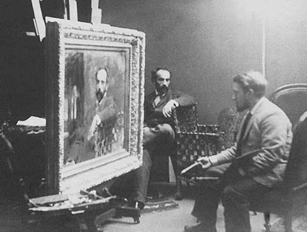 Валентин Серов пишет портрет Исаака Левитана. Фотография 1892 года