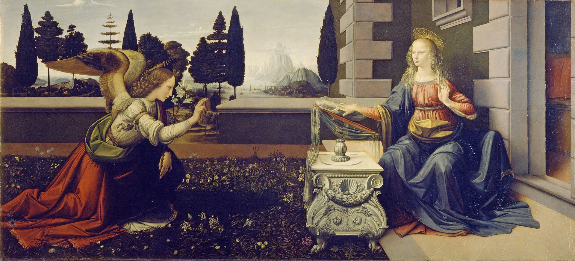 Благовещение, Леонардо да Винчи, 1472—1475, Уффици.Флоренция