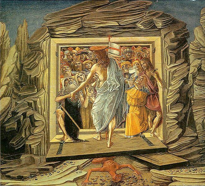 Христос выводит праведников из ада через сокрушённые им врата. Бенвенуто ди Джованни. 1491. Вашингтон