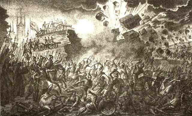Осада Пскова. ил. Бориса Чорикова из книги Живописный Карамзин. 1836