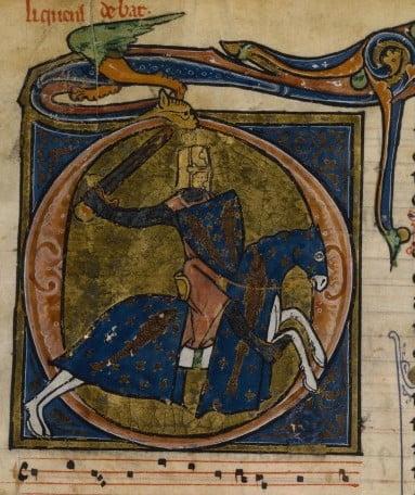 Теобальдо II Наваррский, супруг Изабеллы Французской. Манускрипт не экспонируется на выставке в Кремле