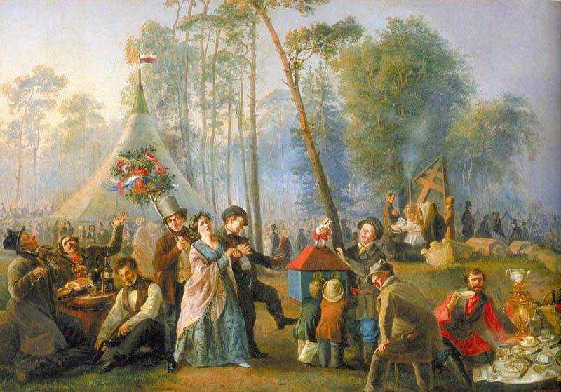 В. Г. Астрахов. Гулянье в Марьиной Роще. 1852. Исторический музей
