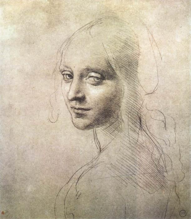 Ангел для картины Мадонна в скалах. Эскиз, 1483-85