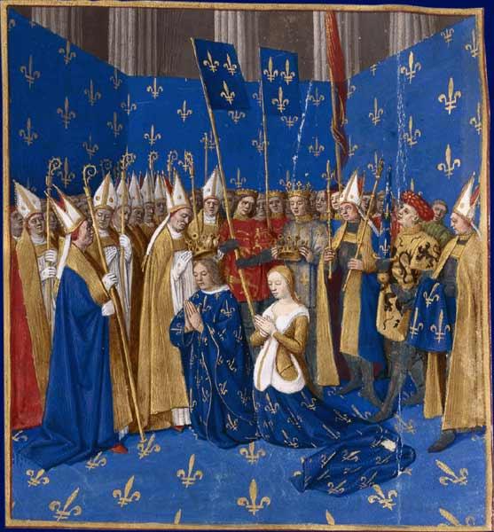 Коронация Людовика VIII и Бланки Кастильской. Миниатюра из Больших французских хроник 13 век