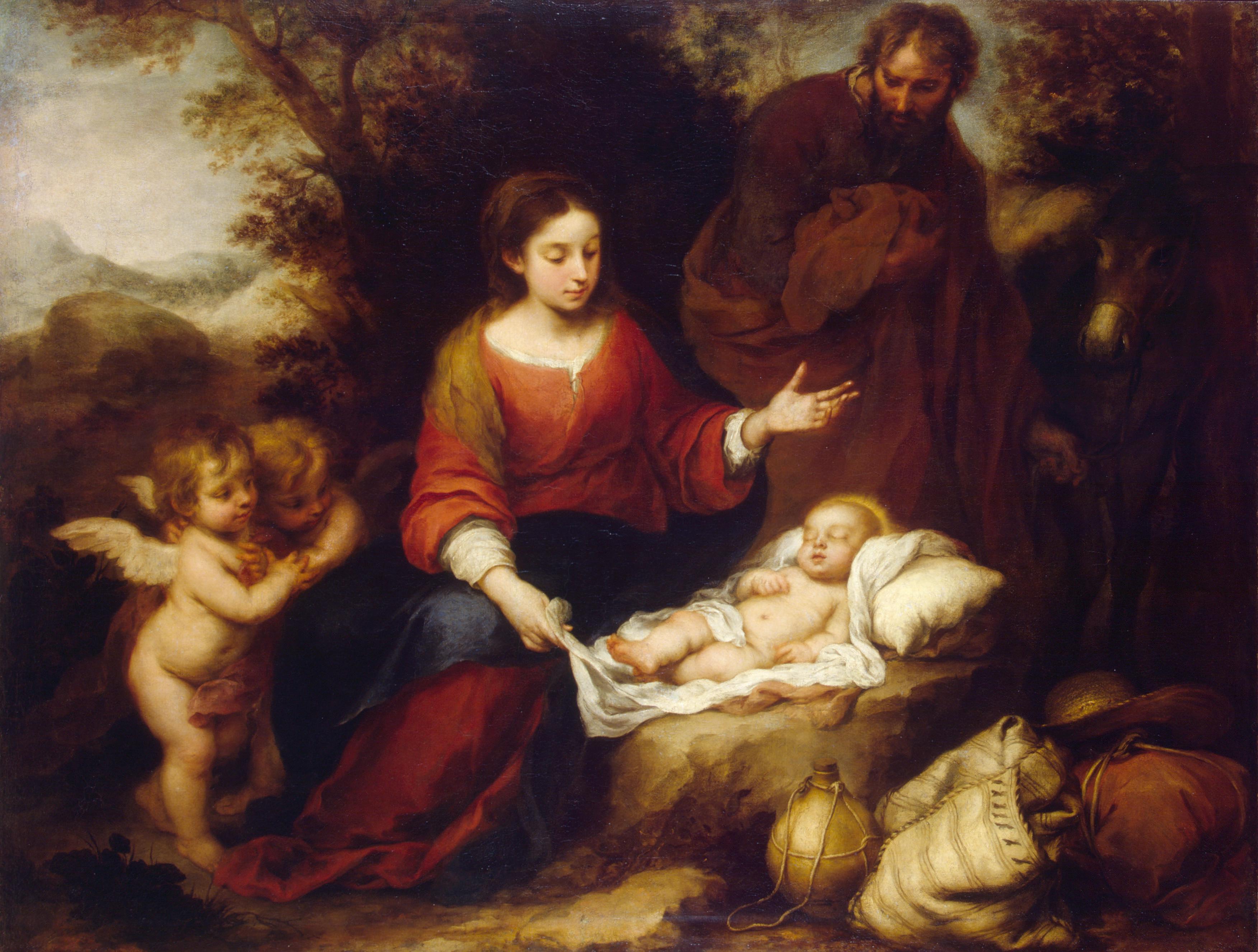 Отдых святого семейства на пути в Египет. Мурильо. Эрмитаж. 1665