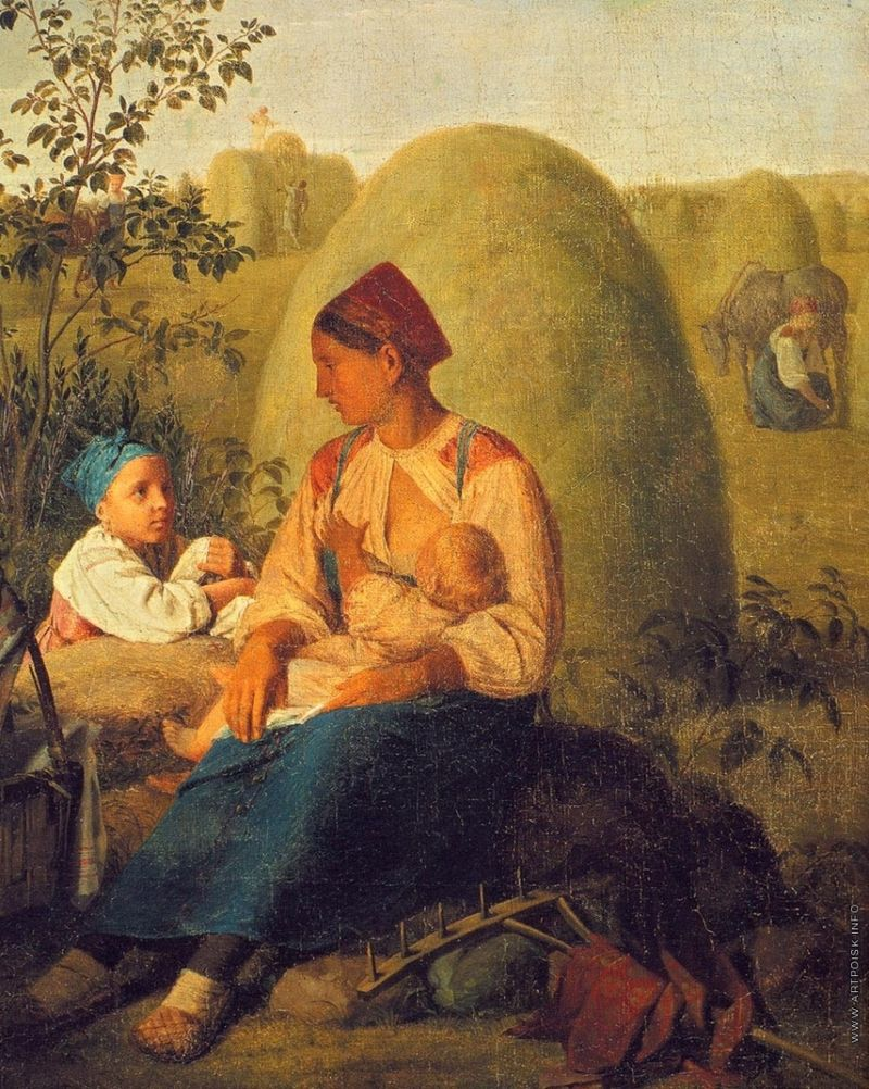 """""""Сенокос"""" Алексей Венецианов. Середина 1820-х, Третьяковская галерея"""