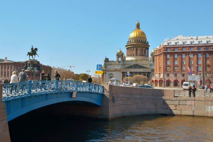 синий мост через Мойку