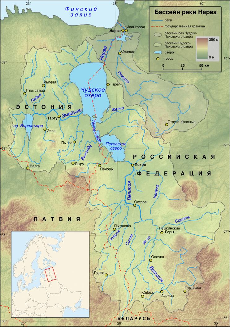 Чудское озеро карта