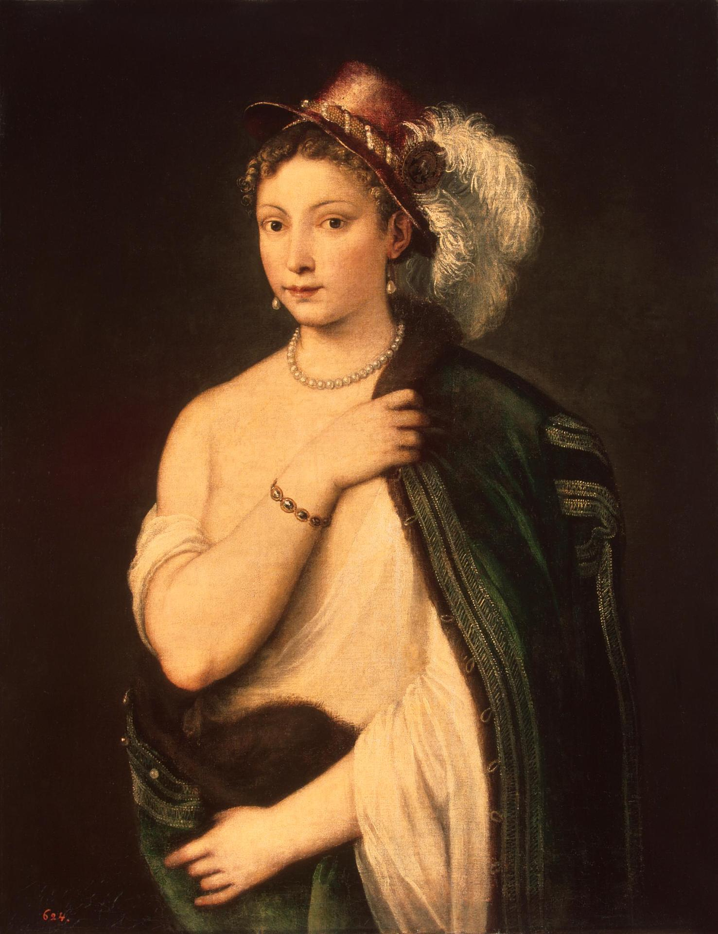 Портрет молодой женщины Тициан около 1536 Эрмитаж