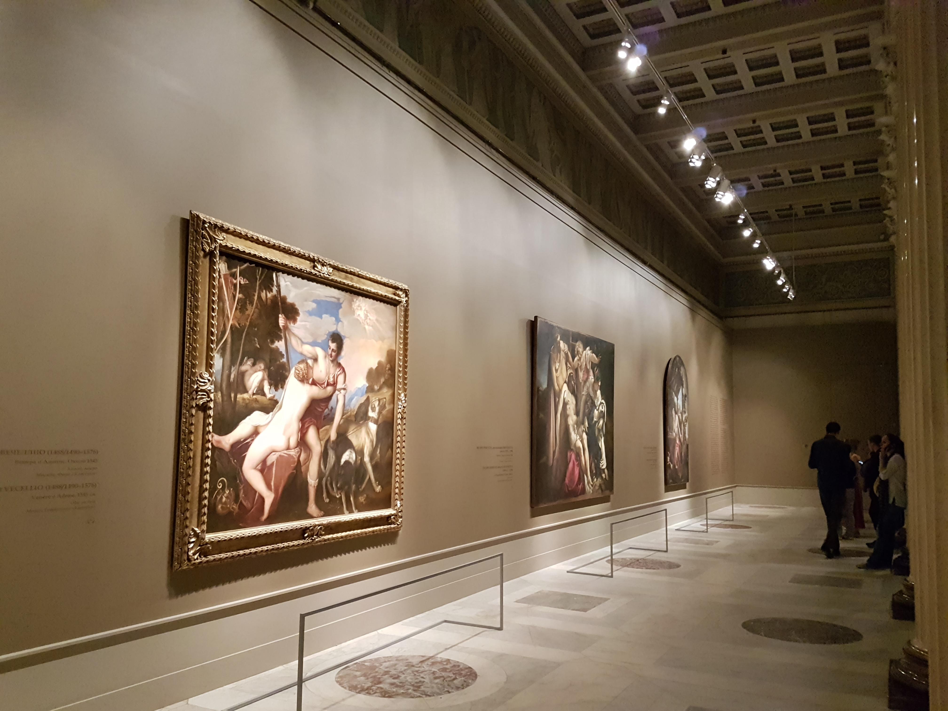 """На выставке """"Венеция Ренессанса. Тициан. Тинторетто. Веронезе"""" в Пушкинском музее Москвы. На первом плане полотно """"Венера и Адонис"""" Тициана"""