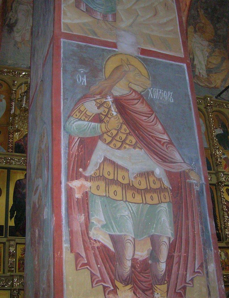 Святой Христофор с лошадиной головой. Фреска, 1561, Успенский собор, о. Свияжск