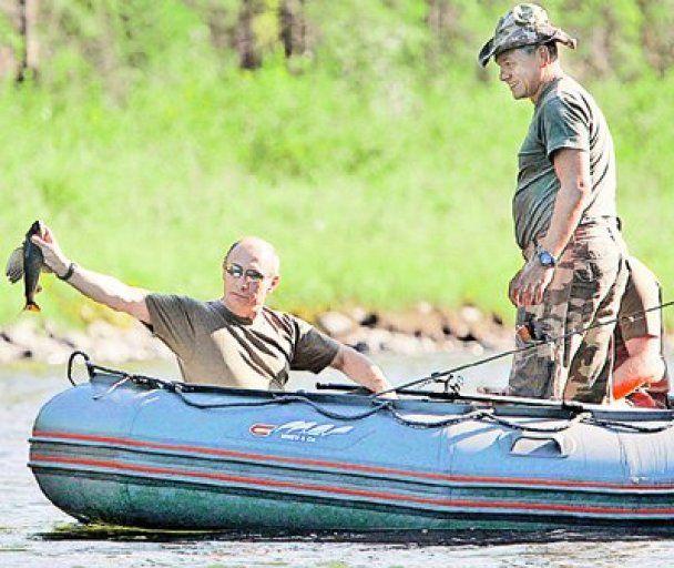 Путин на рыбалке с князем Монако Альбером Вторым