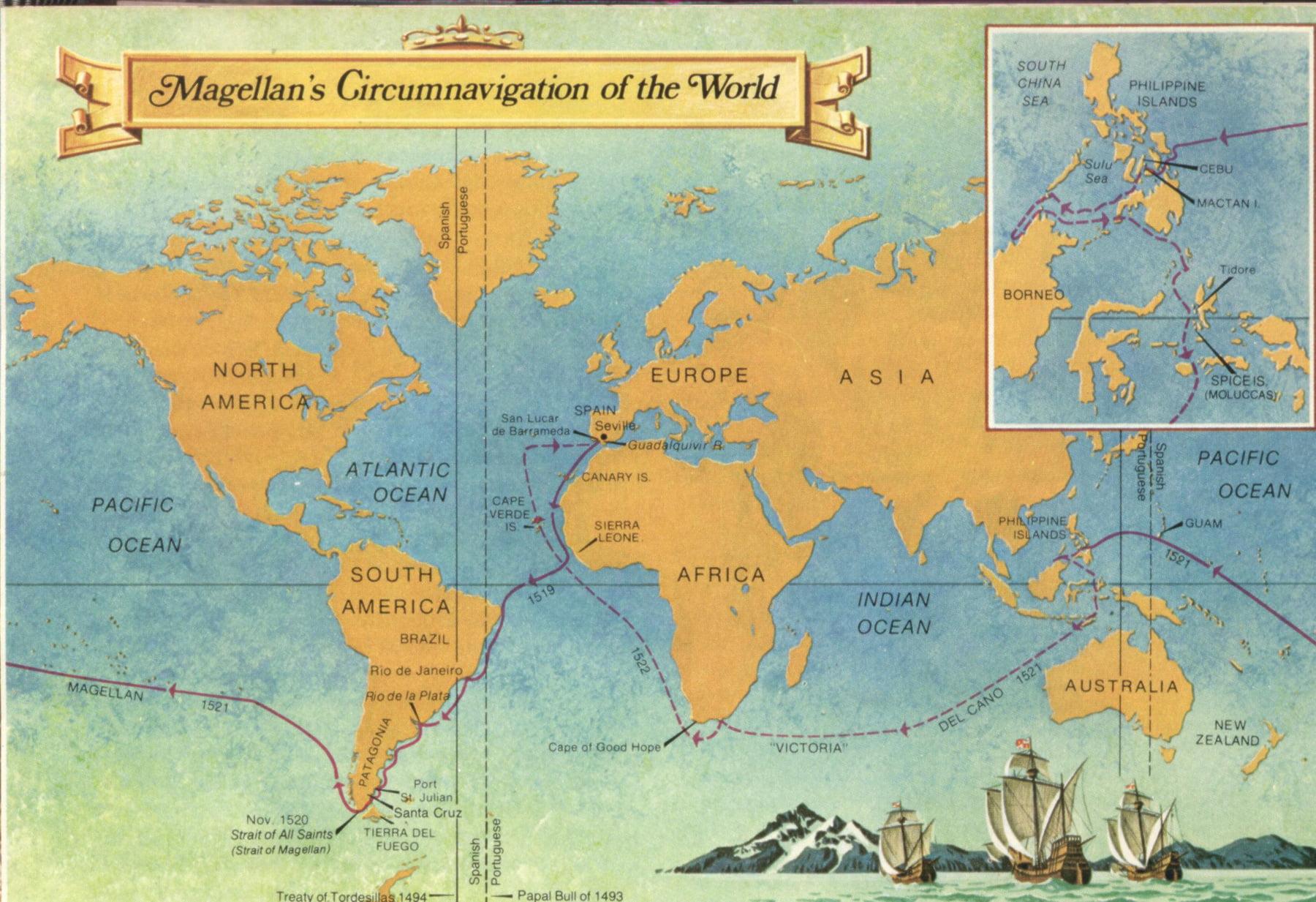 путь кругосветки фернана маггелана на карте