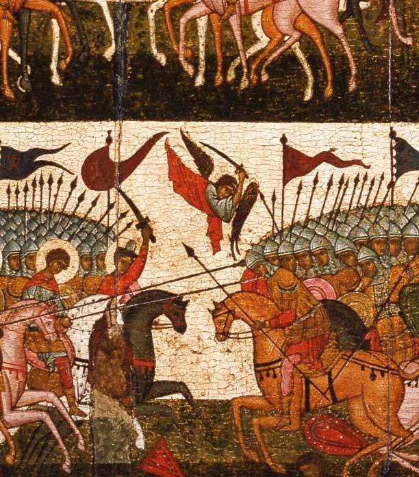 Битва суздальцев с новгородцами. Фрагмент иконы