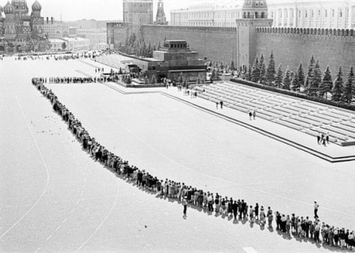 Очередь в Мавзолей Ленина в советское время