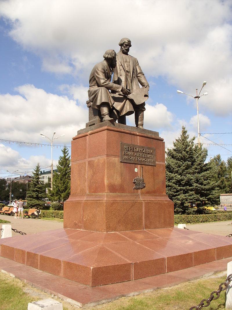 Памятник отцу и сыну Черепановых в Нижнем Тагиле