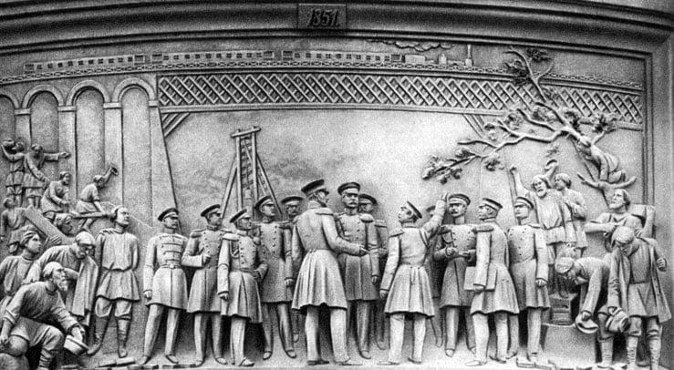 Памятник Николаю I. Барельеф 'Открытие Веребьинского моста на железнодорожной магистрали Петербург - Москва'