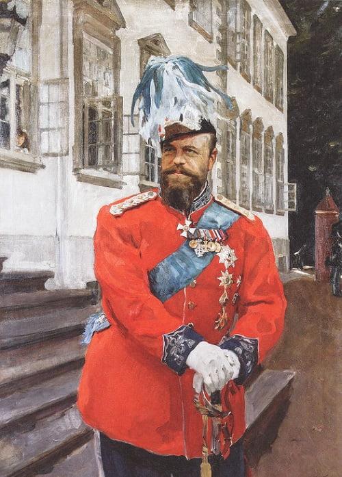 Портрет Александра III в мундире датской Королевской лейб-гвардии (1899). Копенгаген. Дания. Автор: Валентин Серов