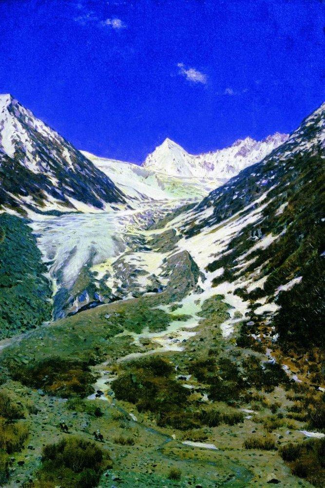 """""""Северная Индия. Ледник по дороге из Кашмира в Ладакх"""". Василий Верещагин"""
