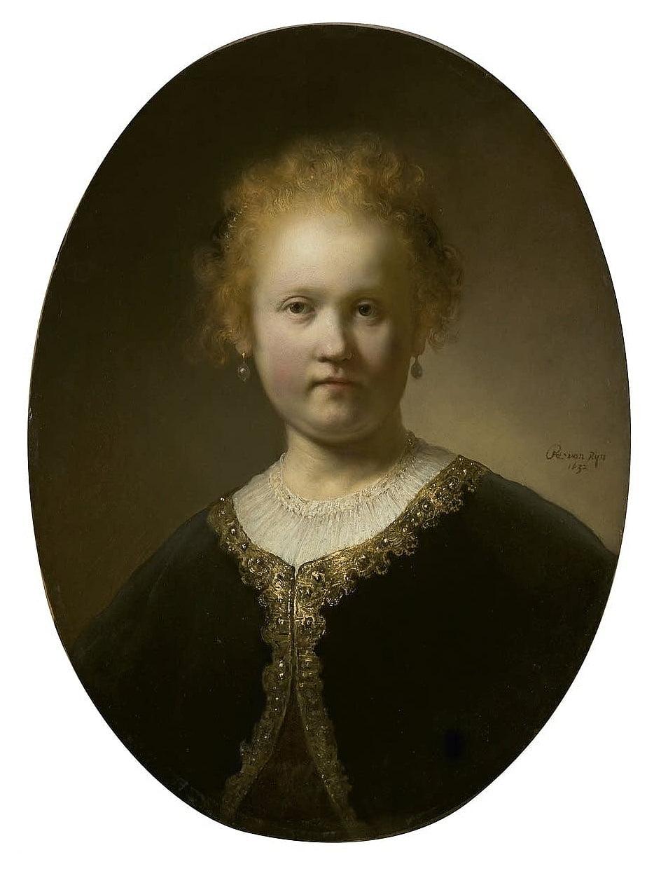 Рембрандт. Девушка в расшитой золотом накидке