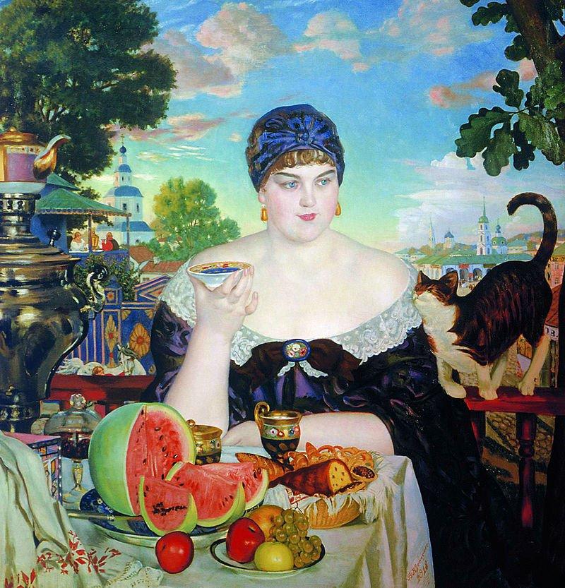 Борис Кустодиев. Купчиха за чаем. 1918 год. Русский музей (Санкт-Петербург)