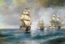 Айвазовский Бриг Мркурий, атакованный двумя турецкими кораблями