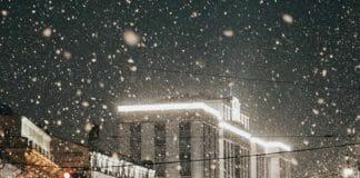 Охотный ряд в снегу