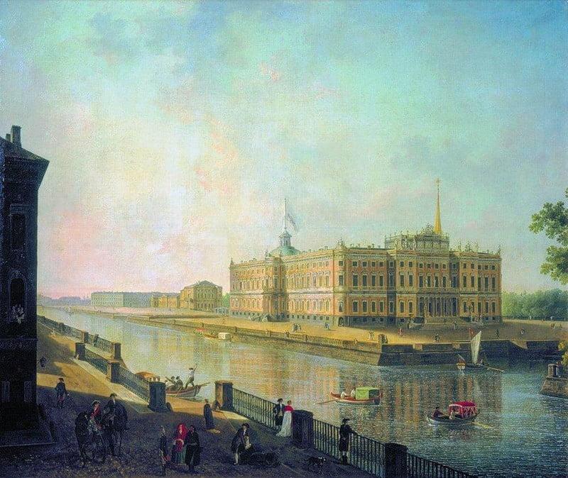Федор Алексеев. Вид на Михайловский замок в Петербурге со стороны Фонтанки. Около 1800