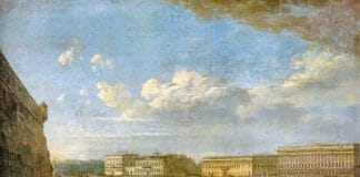 Вид Дворцовой набережной от Петропавловской крепости, 1794.Федор Алексеев