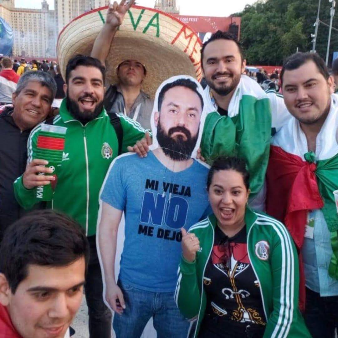 Знаменитый мексиканский болельщик, которого не пустила жена на Чемпионат мира в России. Друзья забрали его с собой и он с нами :)