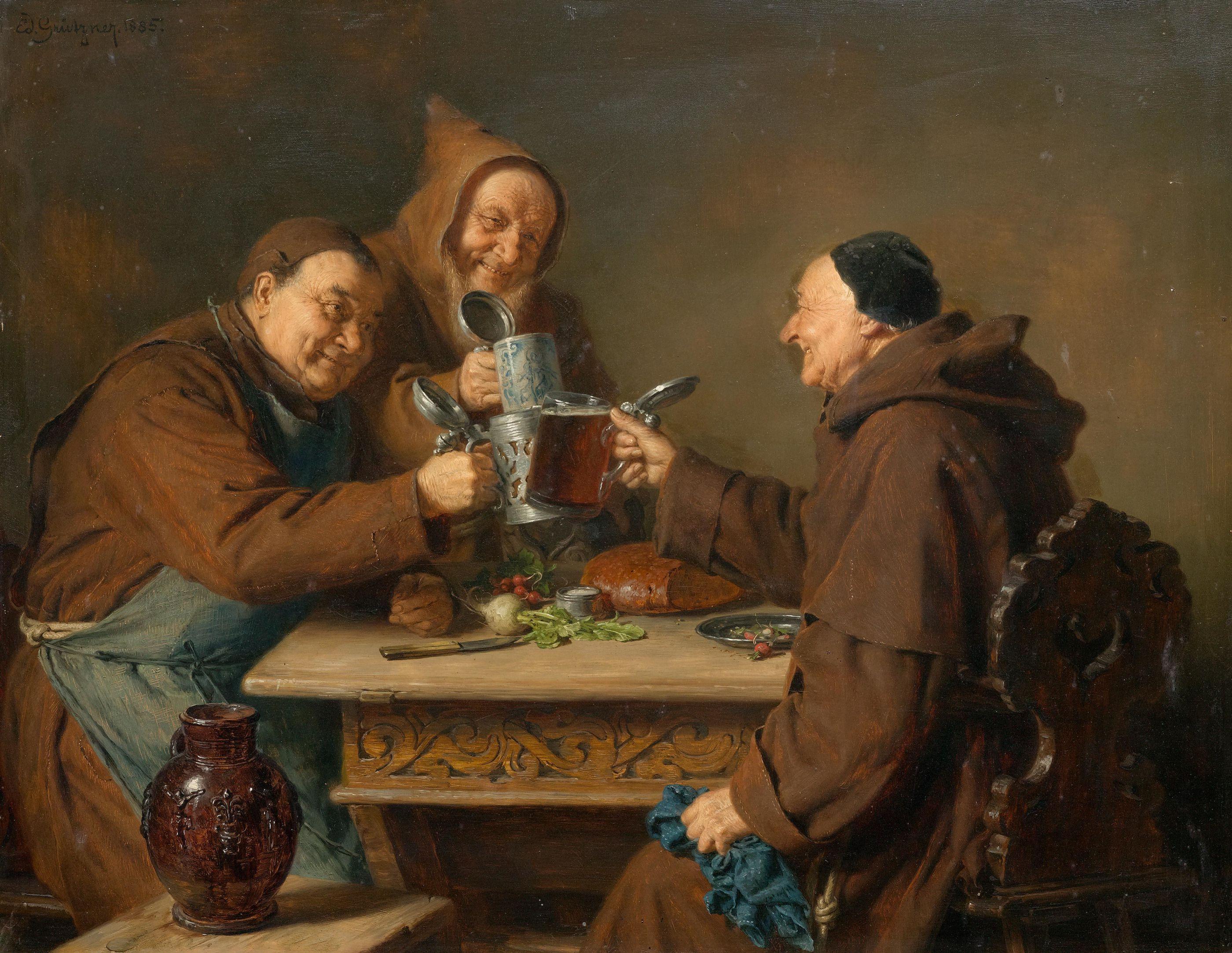 монахи и вино