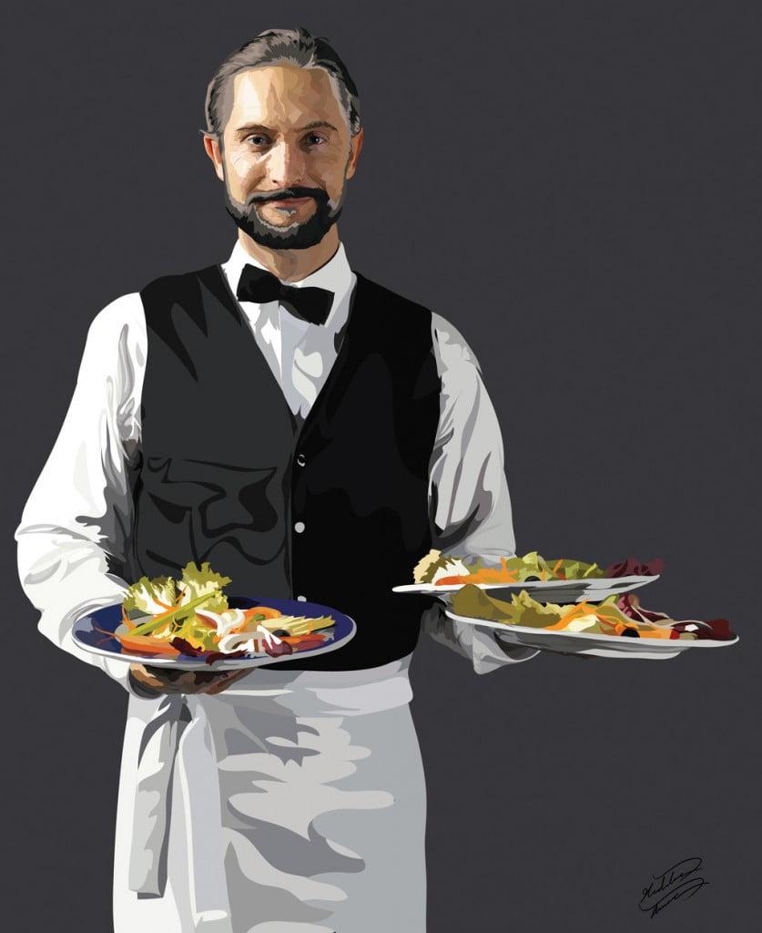 Официант с блюдами