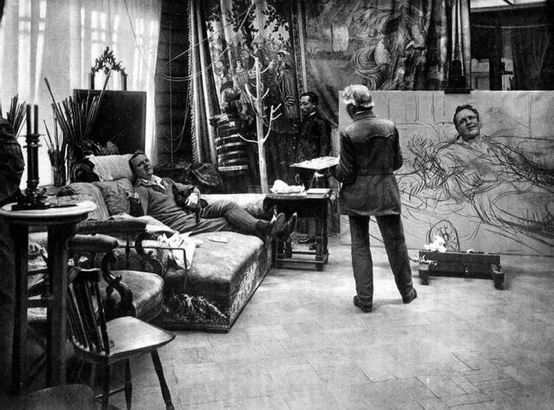 Илья Репин и Федор Шаляпин в Пенатах. 1914 год.. Фотография