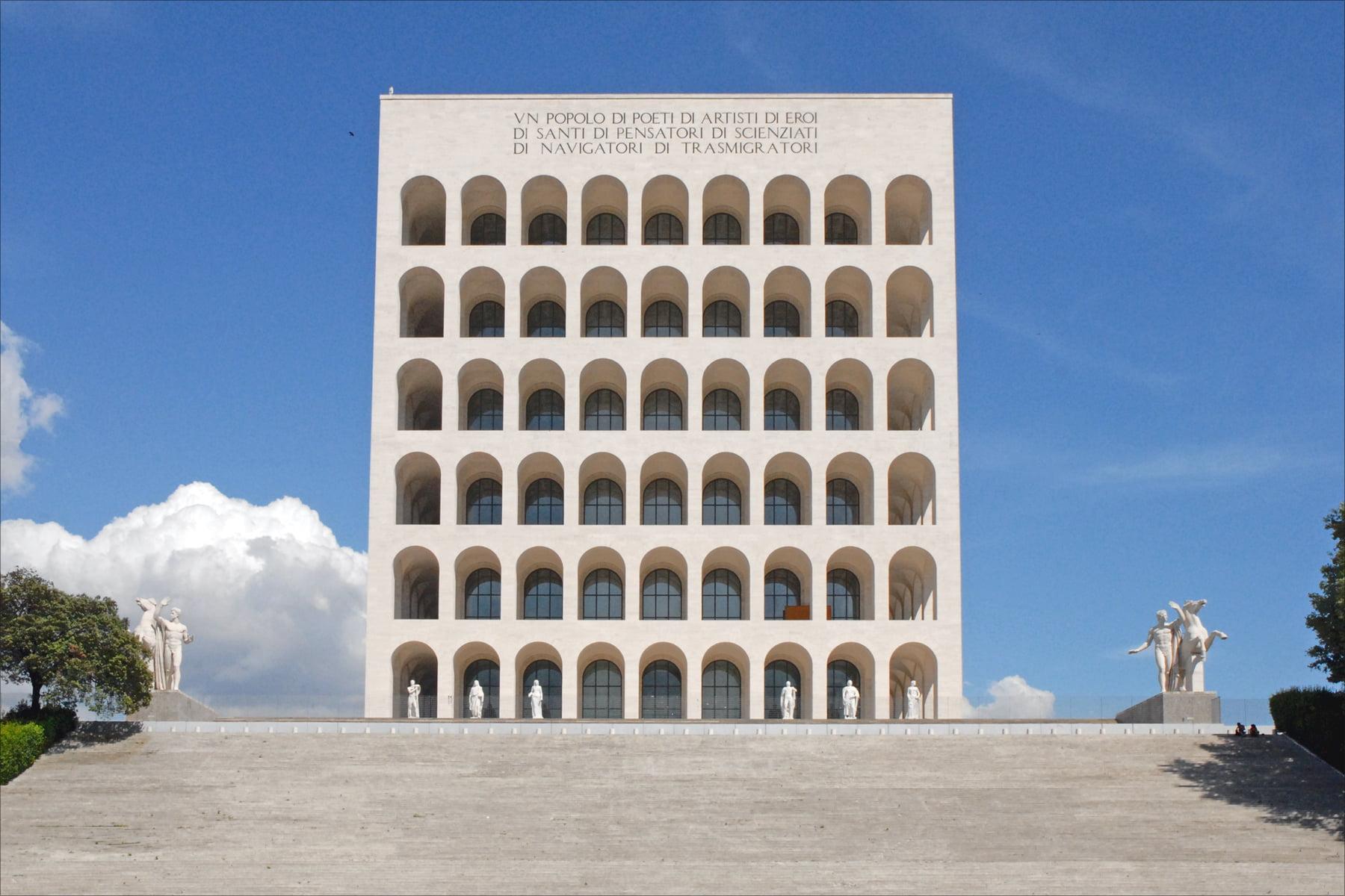 Крыша Colosseo Quadrato в Риме. Покрас Лампас